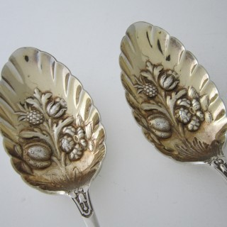 Antique Victorian Sterling Silver Berry Spoons - 1900