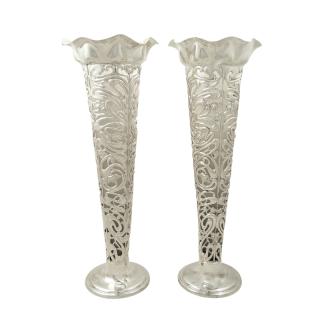 Pair of Antique Art Nouveau Sterling Silver 10 1/2