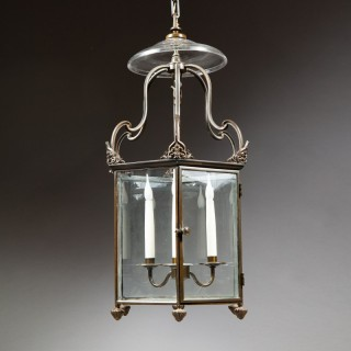 A Regency bronze hexagonal lantern
