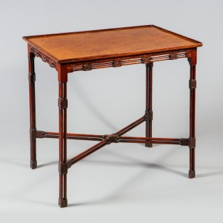 A George III mahogany Chinese Chippendale silver table