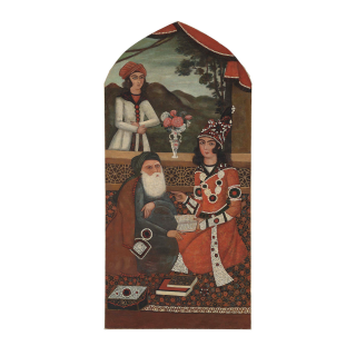 QAJAR PAINTING DEPICTS SAGE AND HIS PUPIL, IRAN, 19TH CENTURY