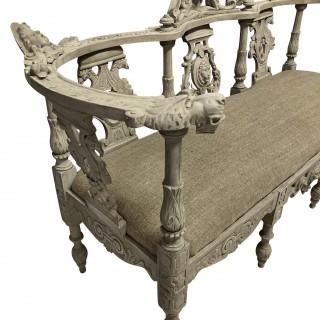 A XIX CENTURY IRISH HALL SEAT