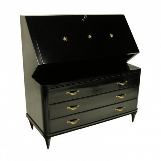 A FRENCH MID-CENTURY EBONISED SECRETAIRE