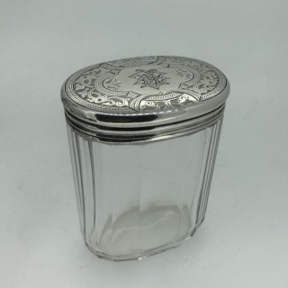 Silver and Glass Pin Pot