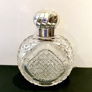 Large Silver and Glass Perfume Bottle