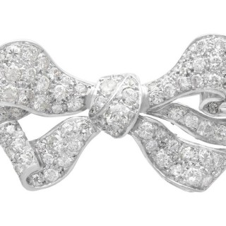 4.82 ct Diamond and 18 ct White Gold Bow Brooch - Antique Circa 1880