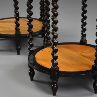 Pair of late 19th century Ceylonese satinwood & ebony occasional tables