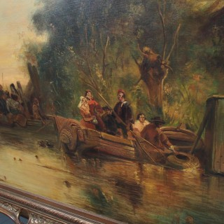 Large Antique Windmill Landscape Oil Painting on Canvas