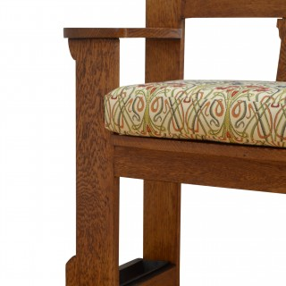 Stylish Arts and Crafts Oak Bench of Narrow Proportions