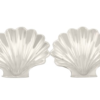 Sterling Silver Butter Shells / Dishes - Antique Victorian (1885)
