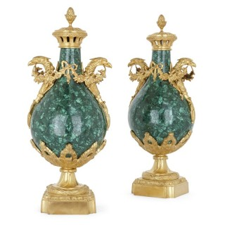Pair of Empire Neoclassical style malachite and gilt bronze vases