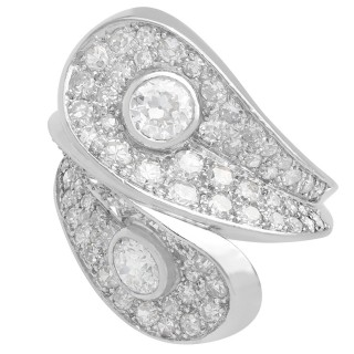 3.36 ct Diamond and Platinum Crossover Ring - Vintage French Circa 1950
