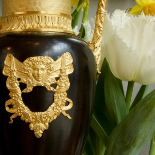 Pair of Early 19th Century French Empire Gilt and Patinated Bronze Amphora Vases