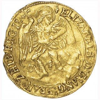 ELIZABETH I (1558-1603), FIRST ISSUE, ANGEL, MINTMARK LIS (1559-60)