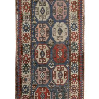 Handwoven Caucasian Carpet Kazak Oriental Wool Rug- 117x240cm