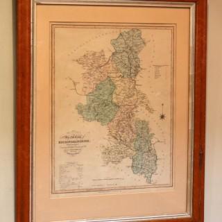 Buckinghamshire Map In A Maple Frame