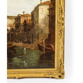 Antique Oil Painting Grand Canal Alfred Pollentine Dated 1877 19th C 90x140cm