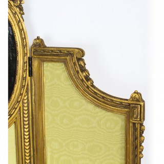 Antique French Giltwood Dressing Screen With Oil Painting Portrait 19th C