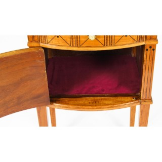 Antique Pair French Maple & Co Satinwood Bedside Cabinets 19th C