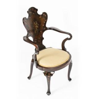 Antique French Vernis Martin Salon Open Armchair Druce & Co 19th Century