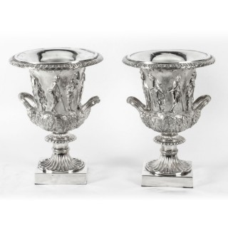 Antique Pair Silver Plated Grand Tour Borghese Bronze Campana Urns 19th C