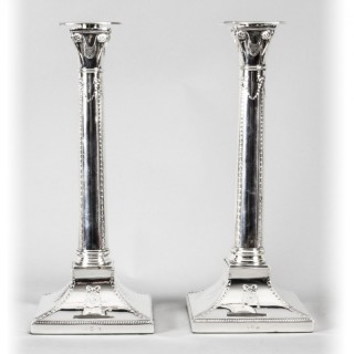 Antique Pair Silver Plated Candlesticks Thomas Bradbury 1890 19th C