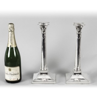 Antique Pair Silver Plated Candlesticks Thomas Bradbury 1890 19th C