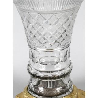 Antique French Cut Crystal & Ormolu Mounted Campana Vase c. 1830 19th C