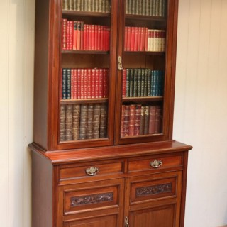 Walnut Cabinet Bookcase By James Shoolbred & Co.