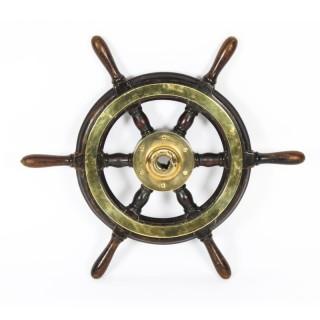 Antique 56cm Teak and Brass Set 6-Spoke Ships Wheel C 1870 19th Century