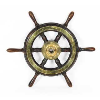 Antique 56cm Teak and Brass Set 6-Spoke Ships Wheel C 1870 19th Century