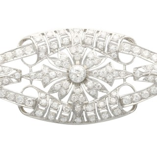 4.65ct Diamond and Platinum Plaque Brooch - Antique Circa 1930