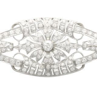 4.65ct Diamond and Platinum Plaque Brooch - Antique Circa 1930