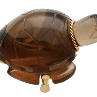 Smoky Quartz and 18ct Yellow Gold Turtle Brooch - Vintage French Circa 1950