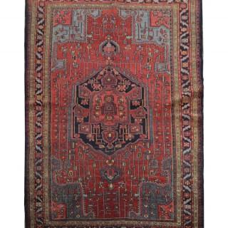 Persian Hamadan Antique Wool Rug - Oriental Blue Red Area Rug 138x193cm