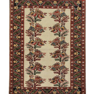 Traditional Persian Area Rug, Floral Oriental Cream Red Wool Carpet- 124x158cm