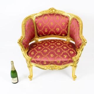 Antique Louis Revival Giltwood Shaped Bergere Armchair 19th C