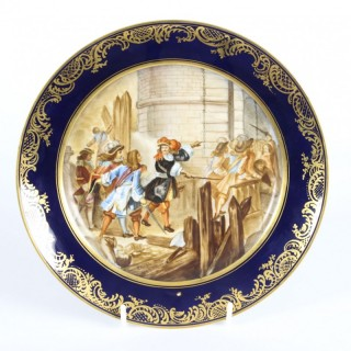 Antique French Sevres Porcelain Gilt Plate