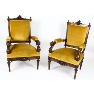 Antique Pair English Sculptural Victorian Walnut Armchairs 19th C