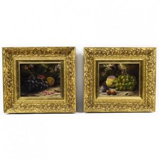Antique Pair Still Life of Fruit W.D.Hobdey 19th Century