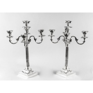 Antique Pair Victorian Silver Plated Five-Light Candelabra by Elkington 19th C