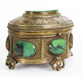 Antique Malachite & Gilt Bronze Lidded Jewellery Casket 19th C C1880