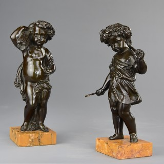 Pair of late 19thc bronze allegorical Harvest putti in the manner of Claude Michael Clodion