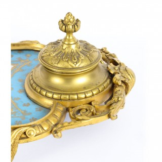 Antique French Ormolu & Sevres Porcelain Standish Inkstand 19th Century