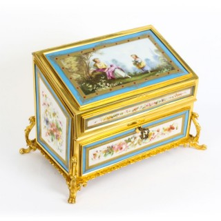 Antique Sevres Porcelain Desktop Correspondence Casket Stationery Box 19th C