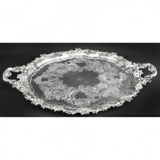 Antique Victorian Oval Silver Plated Tray by Manoah Rhodes C 1880 19th Century