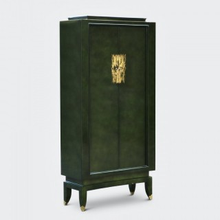 Green Lacquer Cabinet by Andre Domin & Marcel Genevriere for Maison Dominique