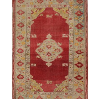 Traditional Turkish Borlou Rug, Handwoven Oriental Red Wool Carpet-106x140cm