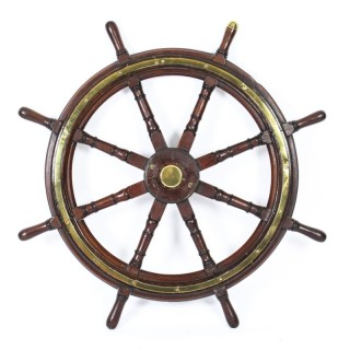 Antique 4ft Diam Teak and Brass Set 8-Spoke Ships Wheel C 1880 19th Century