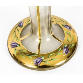 Antique Large French Art Nouveau Enamelled Glass Vase Circa 1890 19th C